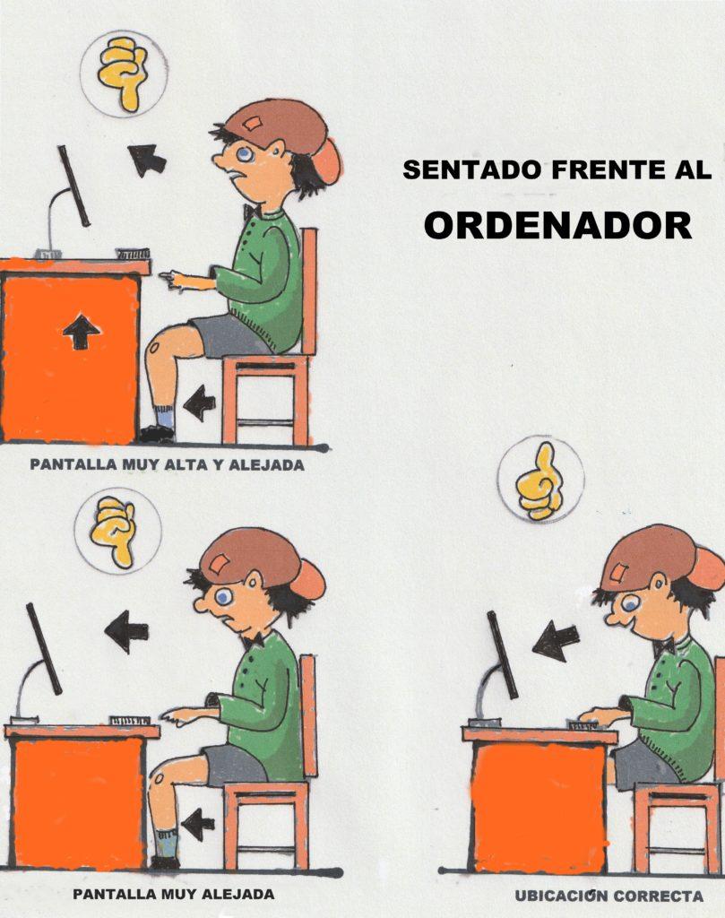 higiene postural SENTADO FRENTE AL ORDENADOR